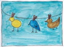 Birds in watercolour