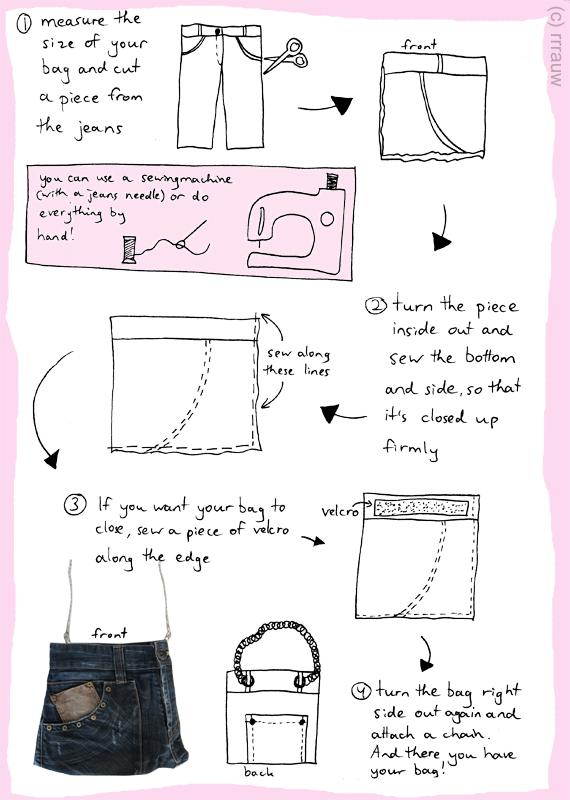 A DIY jeans bag