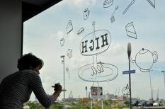 Illustrations on lunchroom window