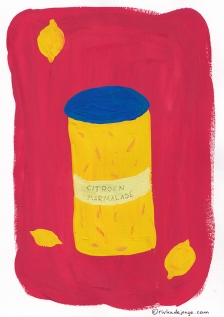 Lemon marmalade in gouache