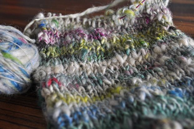Knitted handspun wool