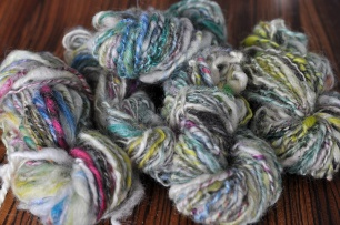 wool handspun with a drop spindle
