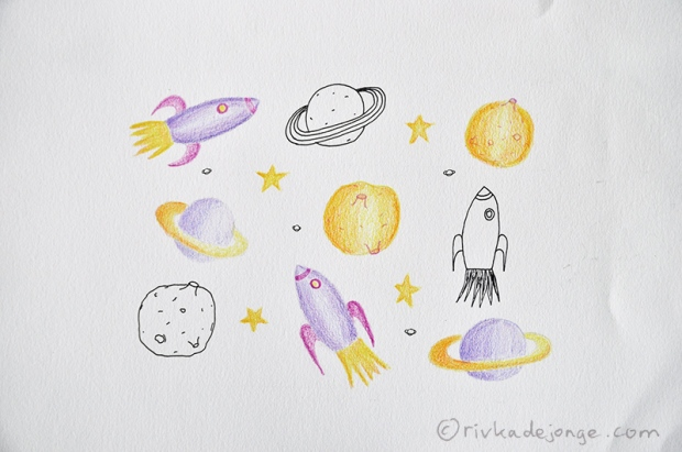 Illustrated rocket, moon, saturn