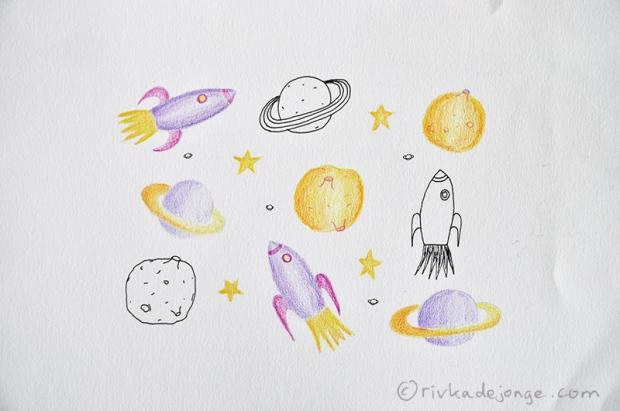 Illustrated rocket, moon, saturn